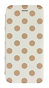 Caseit Inspire Folio Case Cover with Clear Back for iPhone 6/6S 4.7 inch - Cream/Gold Polka Dot