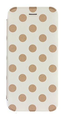 Caseit Inspire Folio Hülle Case Cover Schutzhülle mit Transparenter Rückseite für iPhone 6/6S - Cream/Gold Polka Dot Dots Hard Case Cover
