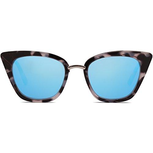 SOJOS Schick Rechteckig Katzenaugen Voll-Rahmen Sonnenbrille Damen Herren SJ2052 mit Demi Rahmen/Blau Linse