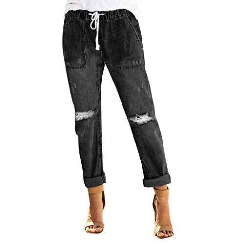 Yvelands Damen Hose Jeans Pull-on Distressed Denim Jogger elastische Taillen Stretch Hosen(Schwarz,M) -