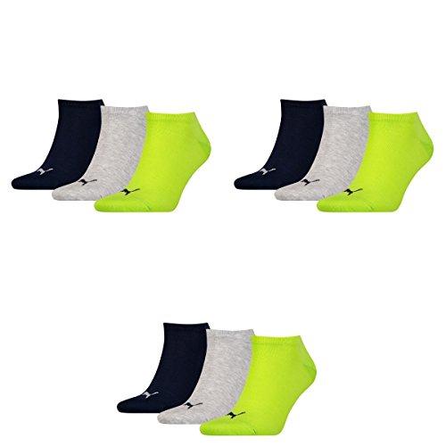 9 pair Puma Sneaker Invisible Socks Unisex Mens & Ladies 064 - lime punch