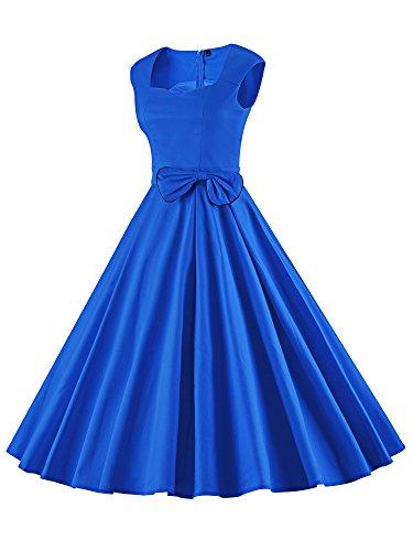 iLover Audrey Hepburn vintage robe de soirée cocktail bal style années 50 Rockabilly Swing V024EU-Bleu