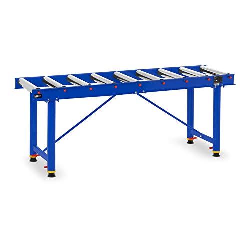MSW RT-300 Rollenbahn höhenverstellbar 65-112 cm Rollentisch 165,5 x 49,5 cm max. 300 kg 9 Rollen Abstand 14 cm