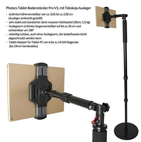 Photecs® Tablet-Bodenständer Pro V3 mit Teleskop-Ausleger, Boden-Stativ (höhenverstellbar ca. 2 m), Profi Tablet-Ständer/-Stativ für iPad Pro 12.9 & Tablet-PC bis 14 Zoll