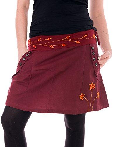 Vishes – Alternative Bekleidung – Bestickter Baumwollrock mit Blumen bordeauxrot 42