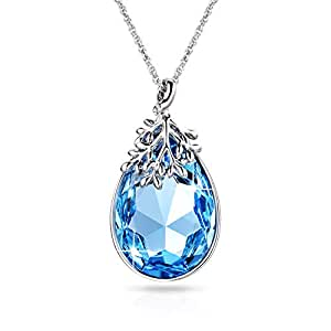 Alantyer Aquamarine Necklace for Women with Light Blue Austrian SWAROVSKI Crystal Pendant Anniversary Birthday Jewellery Gifts, Lucky Olive Leaf, 45+5cm Extender