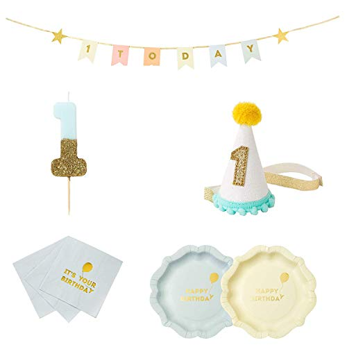irthday Boy Party Supplies and Decorations | Paper Party Plates, Napkins, Candle, Mini Party Hat and Garland ()