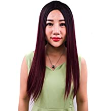 peluca llena sintética larga negra natural larga para la fiesta o el uso  diario del traje 6e6f1cb2c8b0