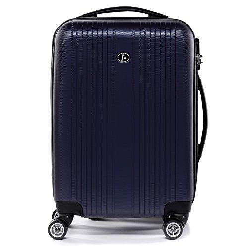 FERGÉ® Bagage Cabine 4 Roues Toulouse Valise Cabine Rigide Leger Bagage à Main Trolley 4 roulettes 360 degrés Bleu