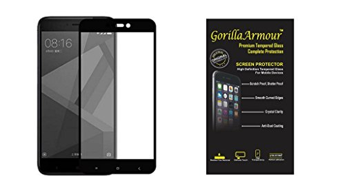 Gorilla Armour Premium Black Coloured Tempered Glass for Mi Redmi 4 Black | 100% full Coverage including Curved Edges,Correct Sensor and Camera Cut outs only for : Mi Redmi 4 Black