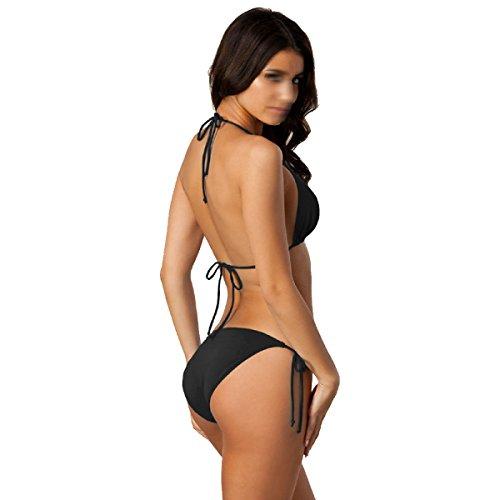 Mme Bikini Sexy Mince Maillot De Bain Multicolore Panties Black