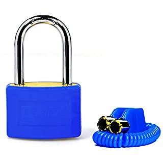 Tubular Key Brass Locker Padlock / Gym Padlock With Keys / High Security Lock For School Or Gym Locker, Luggage or Suitcase / 3 Different Colours / Long Shackle (Blue)