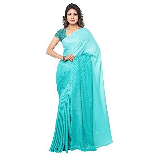 GL Women's Sea Green Crepe Shaded Saree with Blouse Piece  available at amazon for Rs.750