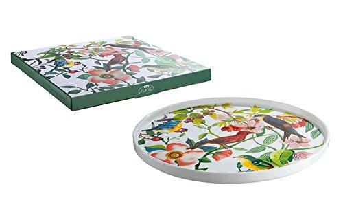 Gilde plateau de porcelaine acev des fleurs et le décor d'oiseaux \\