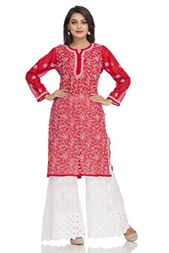 ADA Hand Embroidered Lucknow Chikan Regular Wear Faux Georgette Kurti Kurta A95556