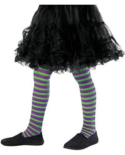 Horror-Shop Gestreifte Kinderstrumpfhose grün-lila für Fasching & Halloween