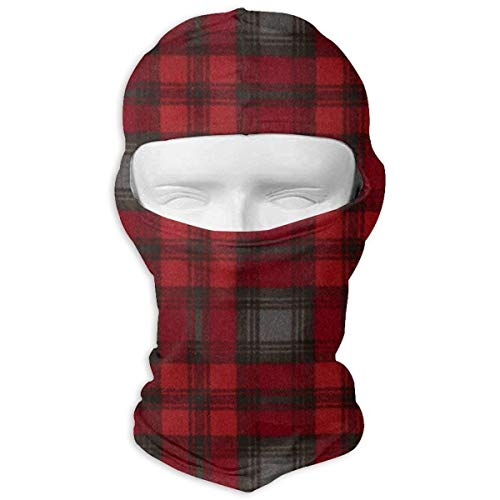 Nifdhkw Black Red Buffalo Plaid Ski Masks for Cycling Outdoor Sports Full Face Mask Balaclava Windproof Breathable - Buffalo Plaid Fleece