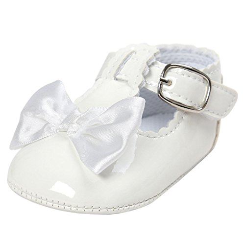 FNKDOR Baby Mädchen Bowknot Prinzessin Weiche Sohle Schuhe Kleinkind Turnschuhe Freizeitschuhe(06-12 Monate,Weiß)