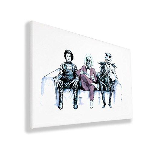 """Arte original inspirado por Tim Burton Eduardo Manostijeras (Edward Scissorhands), Bitelchus (Beetlejuice) & Jack Skellington 12"""" x 16"""" (30cm x 40cm) lienzo impreso"""