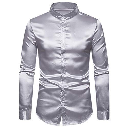 Fascino-M -Uomo Camicia Maniche Lunghe Abito Collo Fascia Slim Fit Moda Casual Barocca Vintage