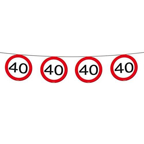 Ghirlandina di bandierine per anniversario Catena di bandierine con cartelli stradali per compleanno 40 anni Ghirlande per compleanno Festoni per compleanni Banner per feste decorazione per party Abbellimento anniversari ghirlanda di banderuola