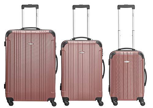 Packenger Kofferset - Goliath - 3-teilig (M, L & XL), 4 Rollen, Koffer mit Zahlenschloss, Hartschalenkoffer (ABS) Robuster Trolley Reisekoffer (Mauve)