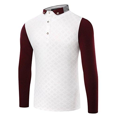 Honghu Herren Longsleeve Casual Urban Basic T-shirts Slim Fit Wein