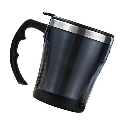 Fenteer Doppelwandiger Thermobecher 300 ml mit Griff Isolierbecher Edelstahl Thermotasse Auto Kaffeebecher - Schwarz