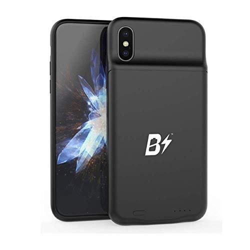BETTERSHOP TM [Qi-Certified] Cover Batteria Esterna con Ricarica Wireless Power Bank Custodia Ricaricabile da 3600MAH Compatibile con iPhone X-XS Incluso Vetro temperato