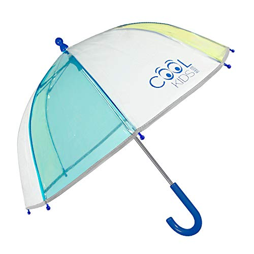 Paraguas Transparente Niño Azul Amarillo Ribete Reflectante