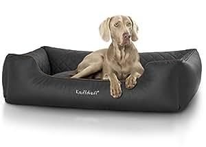 Knuffelwuff 13965-001 gestepptes Leder Hundebett Milan, schwarz