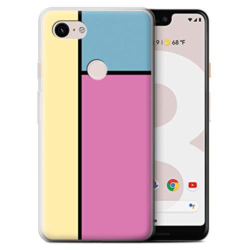 Stuff4® Gel TPU Hülle/Case für Google Pixel 3 XL / 3 Fliesen/Rosa Muster/Pastell Fliesen Kollektion