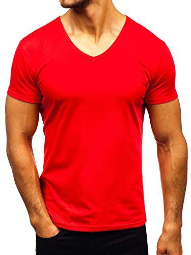BOLF Herren T-Shirt Kurzarm V-Ausschnitt V-Neck Basic Unifarben Figurbetont Sport Style STEGOL AK888A Rot XL [3C3] -