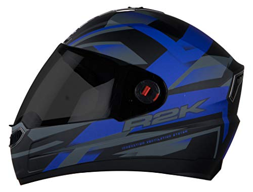 Steelbird SBA-1 R2K Full Face Helmet with Smoke Visor (Matt Black and Blue, L)