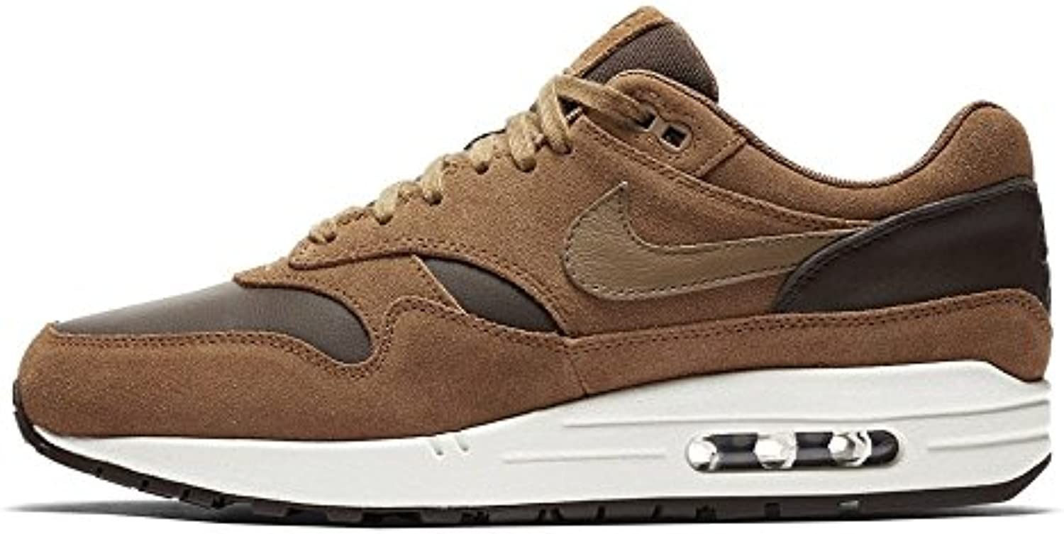 NIKE Air Max 1 Premium Leather Baroque Brown Golden Beige - 41 EU