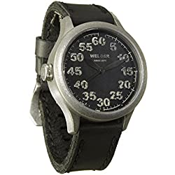Welder Men's Quartz Watch with Black Dial Analogue Display and Black Leather Strap K20-504