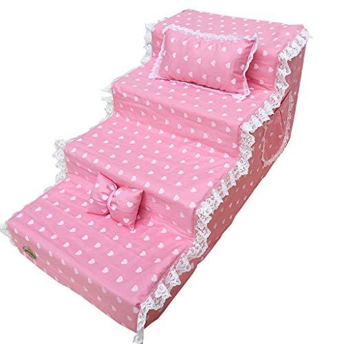 Rosa Hund Treppen Für Couch Für Kleine Hunde Extra Breit 4 Schritt, Schlafzimmer Wohnzimmer Schlafsofa (größe : M)