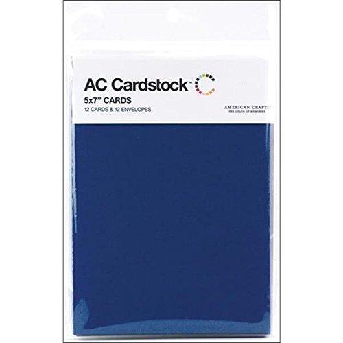 American Crafts 12,7x 17,8cm 12Karten und Umschläge, Marineblau, 5 by 7