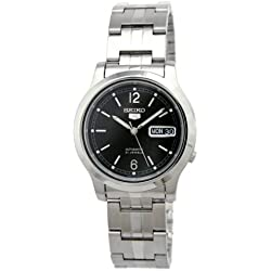 Seiko snk799k 1-5 Gent's Automatic Watch Analogue Black Dial Steel Strap Grey
