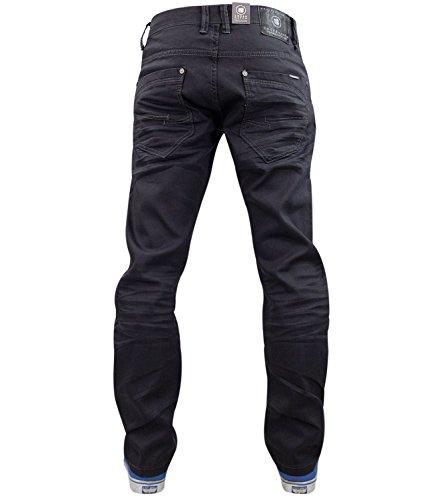 Nouveaux pantalons Mens Designer Crosshatch Stretch Denim Jeans Slim Fit courbé coupé Grey