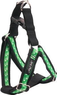 Brustgeschirr aus Baumwolle mit Klickverschluss PX10 60-115 cm, 3 cm breit Farbe: grün / Pfoten