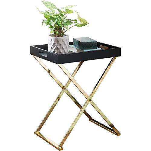 FineBuy Beistelltisch NANI TV-Tray klappbar 46 x 61 x 32 cm schwarz/Gold | Design Wohnzimmertisch mit Serviertablett | Kaffeetisch modern | Tabletttisch Holz | Ablagetisch mit Metallgestell