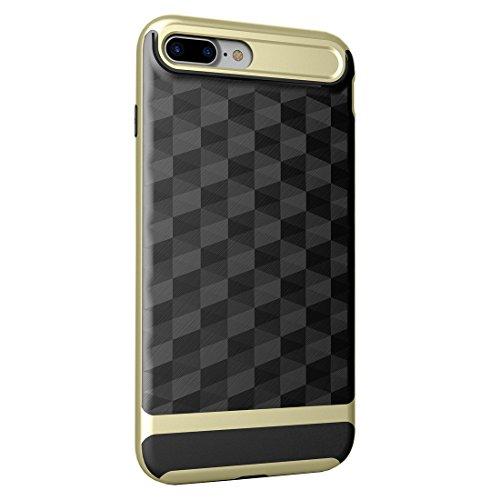 "iPhone 7 Plus / iPhone 8 Plus Hülle, HICASER Dual Layer Case Shock Proof Prism Textur TPU +PC Bumper Handytasche Schutzhülle für iPhone 7 Plus / iPhone 8 Plus 5.5"" Schwarz / Rot Schwarz / Gold"