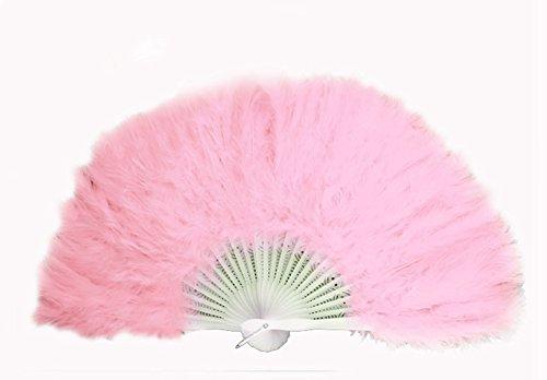 DAYAN Halloween ventaglio della piuma pieghevole di plastica Costume accessorio Fan di danza Festa Di Natale color rosa