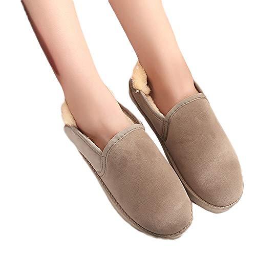 TianWlio Boots Stiefel Schuhe Stiefeletten Frauen Herbst Winter Solide Weibliche Schneestiefel Student Brot Schuhe Flach Winter Warme Samt Schuhe Weihnachten Beige 40