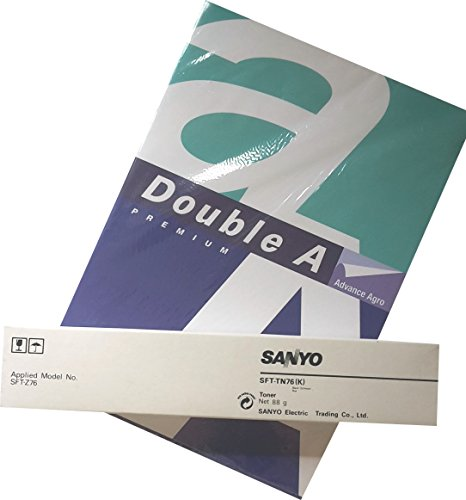 PP PremiumPrintware Bundle: Original Sanyo SFT-TN76(K) Toner + 1x Papier Musterpack DoubleA Sanyo Bundle