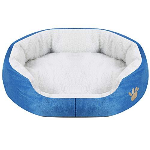 Lanking Mat Decken Zwinger Bett, Haustier Hund Welpen Katze Weichen warmen Kissen, blau-S