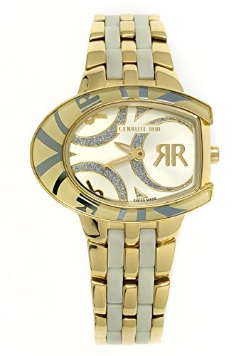 Cerruti 1881 Ladies Logo Watch Two Tone Gold and White with Ceramic Strap Diamond CRWPO014H241U