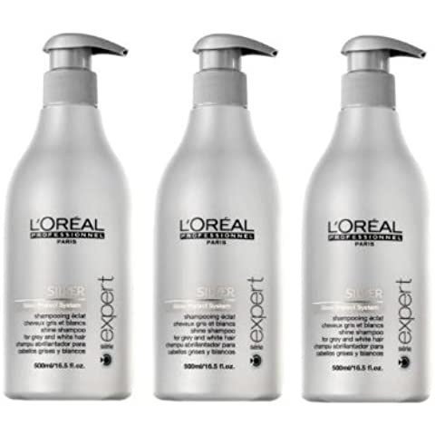 Loreal Silver brillo de champú + Bomba 3x 500ml serie Expert Gloss Protect Sistema