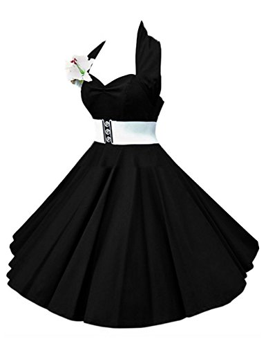 VKStar®Enfants Robe Années 50 Vintage Style Halter Sans Manche 1950s Audrey Hepburn Robe Fille Rockabilly Swing Noir